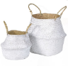 Set of 2 White Seagrass Basket